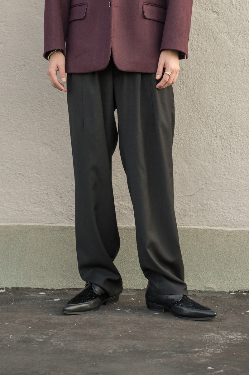 17FW WIDE SLACKS Black