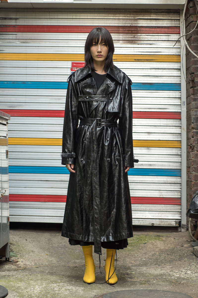 [아티스트 - DEAN 착용] 17FW [Order Made] UNISEX Leather Trench Coat - Black