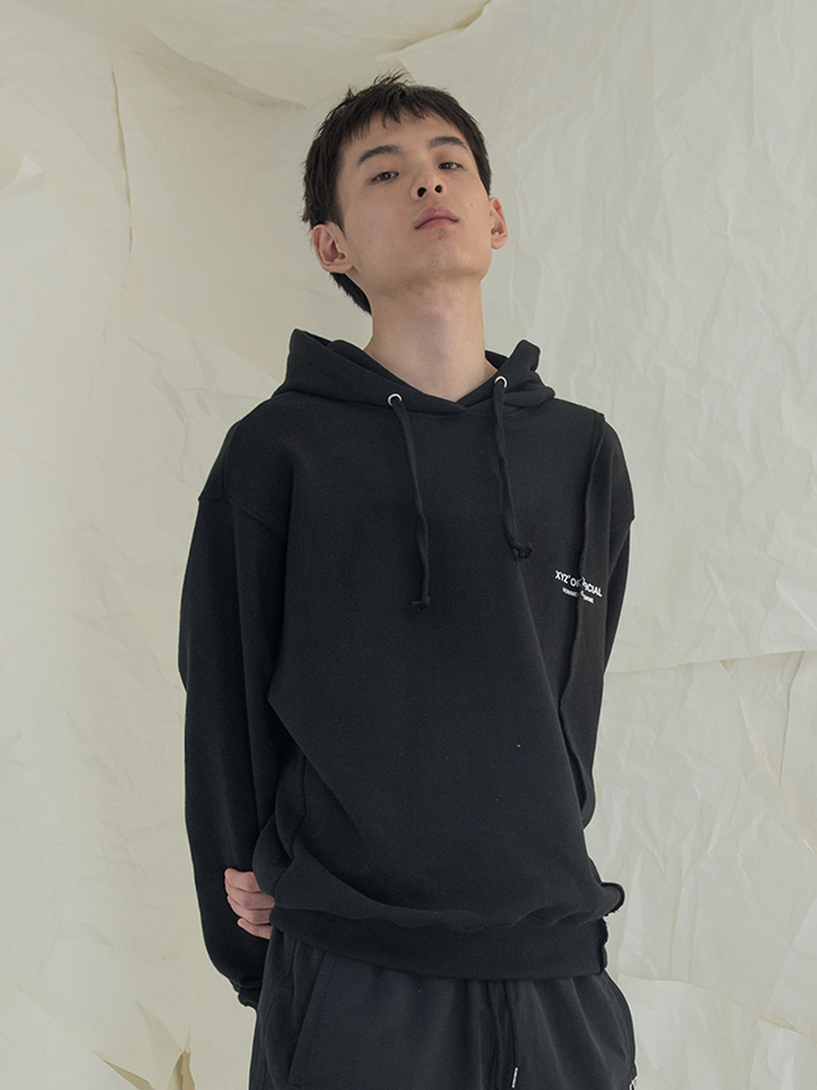 18SS UNISEX DESTROYED HOODY - BLACK