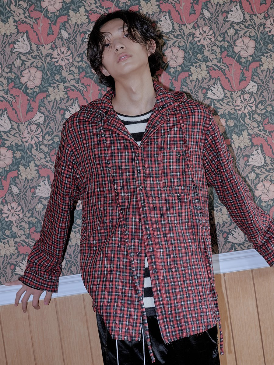[후드탈부착]18FW UNISEX HOODED CHECK SHIRTS - RED