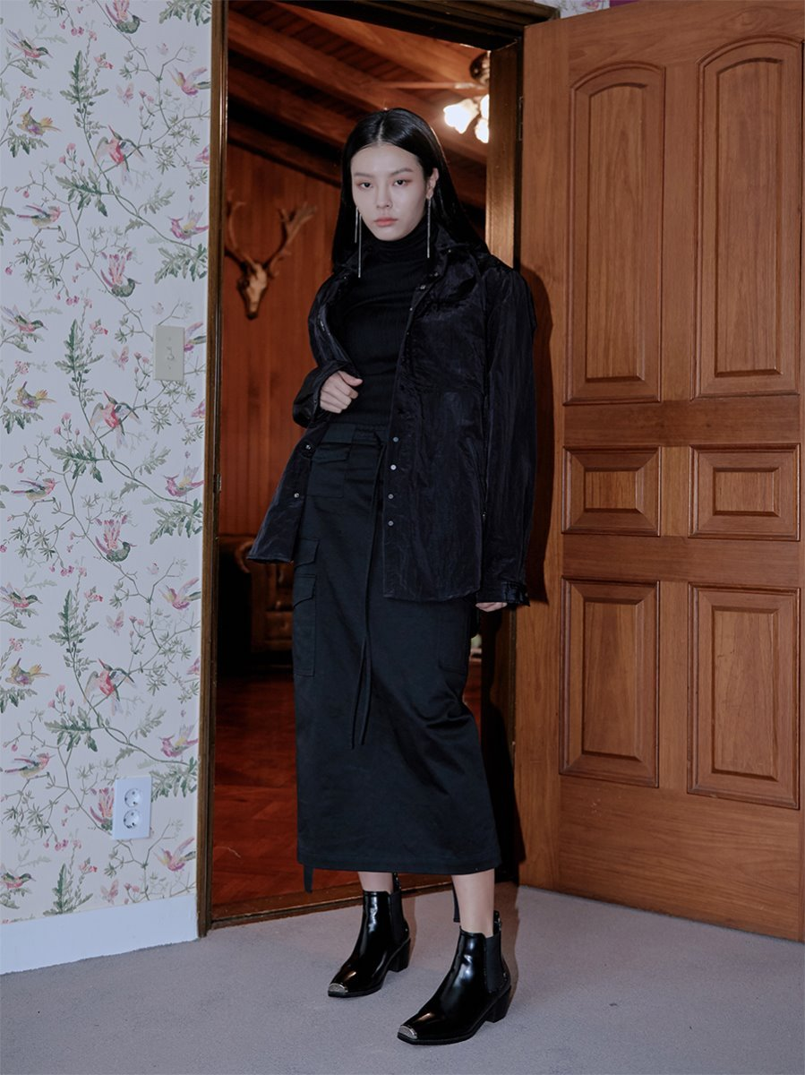 18FW MILITARY CARGO SKIRTS - BLACK