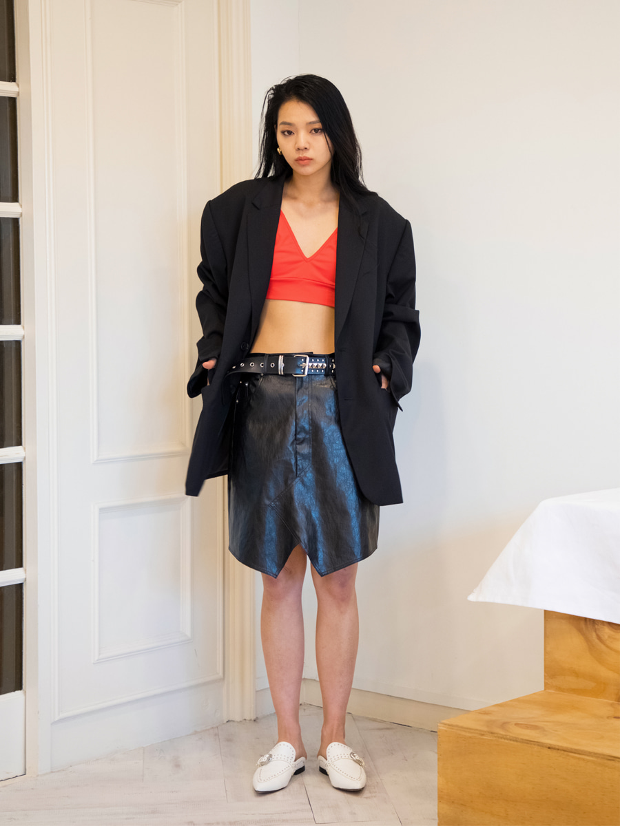 19SS LEATHER SKIRTS - BLACK
