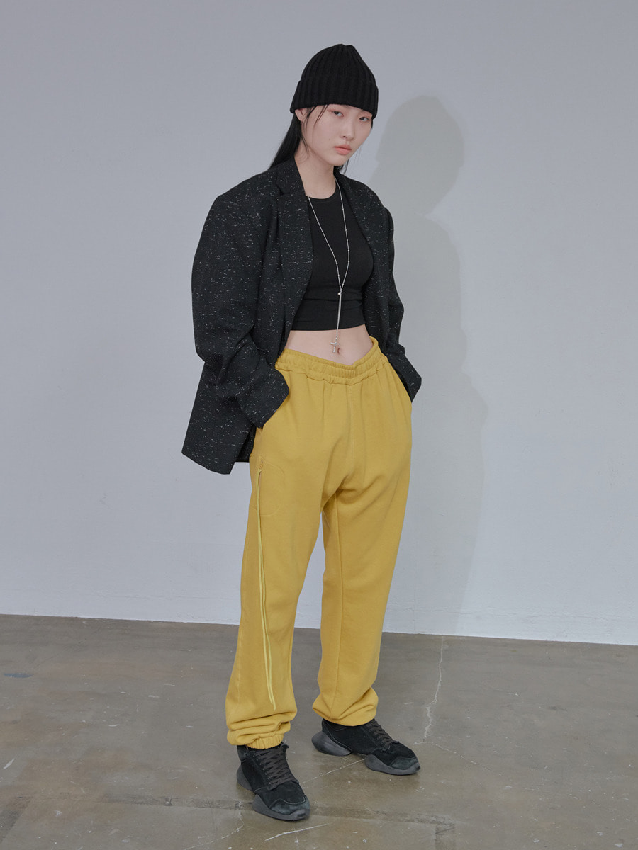 UNISEX LONG STRING POCKET JOGGER PANTS - MUSTARD